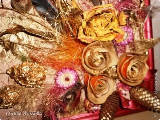 Ещё одно панно на день рождения. Его украсила  перьями фазана! Размер 30 на 40. фото 5
