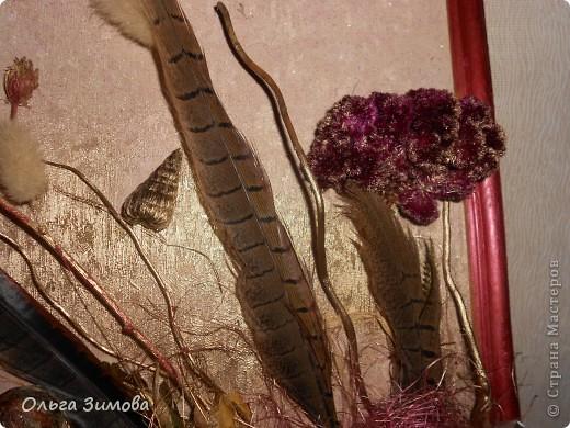 Ещё одно панно на день рождения. Его украсила  перьями фазана! Размер 30 на 40. фото 6
