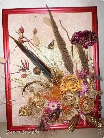 Ещё одно панно на день рождения. Его украсила  перьями фазана! Размер 30 на 40. фото 7