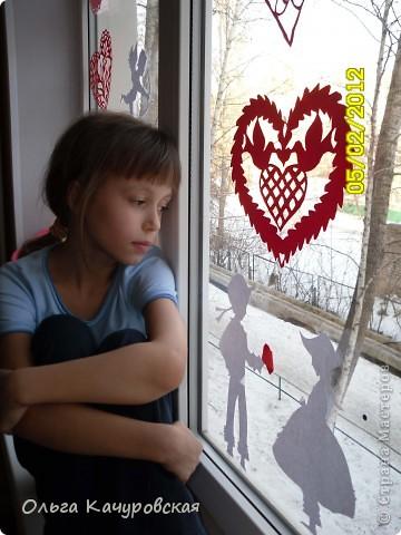 Вот и мы подготовились праздновать День всех влюбленных!!! Мастерили с дочкой открытки, украшали окна.... Результатом довольны!  фото 31