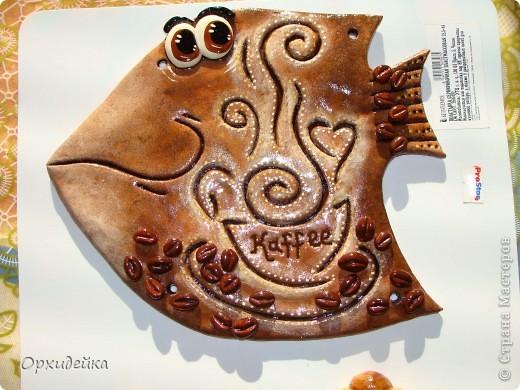 Картина панно рисунок Поделка изделие Лепка Кофейная рыбка Гуашь Тесто соленое фото 3