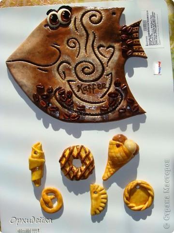 Картина панно рисунок Поделка изделие Лепка Кофейная рыбка Гуашь Тесто соленое фото 2