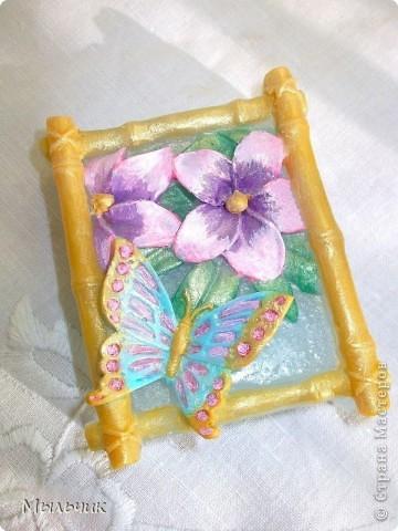 Бабочка в бамбуковой рамке.