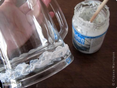 Декор предметов Мастер-класс Поздравление 23 февраля День рождения Роспись Кружка Белое море Банки стеклянные Бусины Бутылки стеклянные Краска Пайетки фото 3
