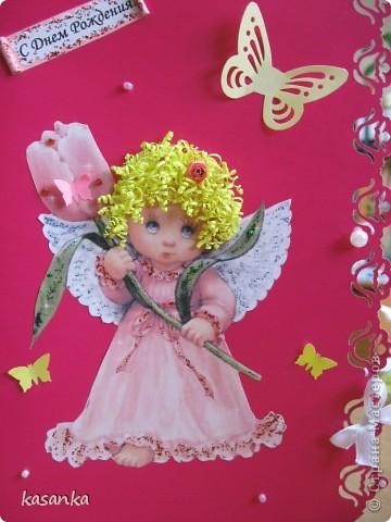 Открытка День рождения Квиллинг Открытка с ангелочком Бумага