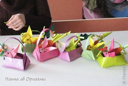 Мастер-класс Оригами Лукошко кролик и морковка Бумага фото 50