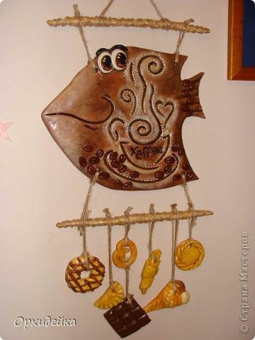 Картина панно рисунок Поделка изделие Лепка Кофейная рыбка Гуашь Тесто соленое фото 1