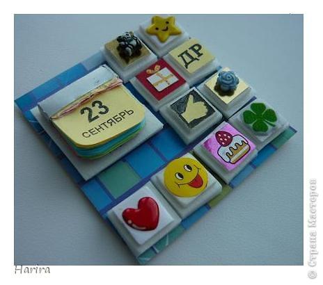 С этой работой я участвую в задании «Shadow-box 1 – Календарь», которое было объявлено Челендж-блогом  «Little fun». Узнать, что такое шэдоу-бокс можно здесь: http://littlefun-by-d.blogspot.com/   Проще говоря, по-русски  Shadow-box – значит витрина. У каждой витрины есть своя тема. Заполняется она памятными вещами, фотографиями, украшениями. Все это вставляется в рамку, разделенную на отдельные ячейки, и закрывается стеклом. Для первого задания нужно было сделать миниатюрный календарь, где выделялось бы какое-то важное число (день рождения, день свадьбы, период отпуска, новый год и т.д.). Тип календаря: настенный, настольный, отрывной, на месяц, на квартал и т.п. - не имеет значения. Но, самое главное, календарик должен представлять из себя законченную полноценную миниатюру. Размер миниатюры не должен превышать 7 см по большей стороне. Сказать по правде, я очень долго не решалась приступить к выполнению задания, т.к. вид работы для меня абсолютно новый. Второй момент – выбор даты – тоже поставил меня в тупик. В жизни было так много разных важных событий, что трудно остановиться на каком-то одном. Решила взять день рождения своего сына. Ну и, конечно же, сразу возникли идеи, как можно обыграть дату. В день рождения принято дарить подарки, желать удачи, счастья, любви и хорошего настроения. И, конечно же, на столе – торт со свечками! И вот что у меня получилось: фото 2