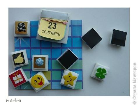 С этой работой я участвую в задании «Shadow-box 1 – Календарь», которое было объявлено Челендж-блогом  «Little fun». Узнать, что такое шэдоу-бокс можно здесь: http://littlefun-by-d.blogspot.com/   Проще говоря, по-русски  Shadow-box – значит витрина. У каждой витрины есть своя тема. Заполняется она памятными вещами, фотографиями, украшениями. Все это вставляется в рамку, разделенную на отдельные ячейки, и закрывается стеклом. Для первого задания нужно было сделать миниатюрный календарь, где выделялось бы какое-то важное число (день рождения, день свадьбы, период отпуска, новый год и т.д.). Тип календаря: настенный, настольный, отрывной, на месяц, на квартал и т.п. - не имеет значения. Но, самое главное, календарик должен представлять из себя законченную полноценную миниатюру. Размер миниатюры не должен превышать 7 см по большей стороне. Сказать по правде, я очень долго не решалась приступить к выполнению задания, т.к. вид работы для меня абсолютно новый. Второй момент – выбор даты – тоже поставил меня в тупик. В жизни было так много разных важных событий, что трудно остановиться на каком-то одном. Решила взять день рождения своего сына. Ну и, конечно же, сразу возникли идеи, как можно обыграть дату. В день рождения принято дарить подарки, желать удачи, счастья, любви и хорошего настроения. И, конечно же, на столе – торт со свечками! И вот что у меня получилось: фото 4