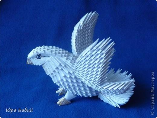 Оригами голубь из модулей