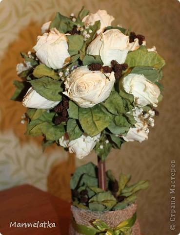"Топиарий ""Белые розы"" фото 2"