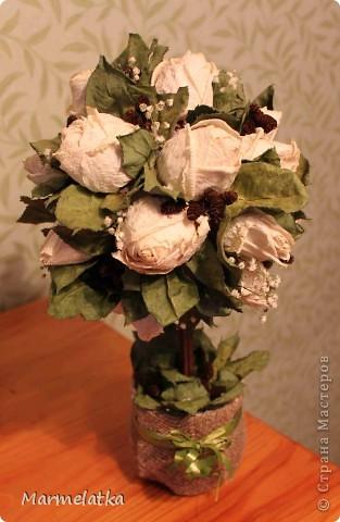 "Топиарий ""Белые розы"" фото 1"