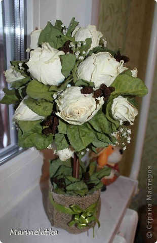 "Топиарий ""Белые розы"" фото 4"
