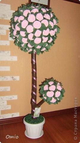 """Добрый день Страна! вот сколько не делаю топиарии, а вот от таких - салфеточных деревьев, восторга больше всего.... Мне сказали, что я ничего не понимаю.... ну да ладно, лишь бы оно радость приносило. Это дерево мне заказали кому-то на день рождения....Я уже делала подобное дерево его можно посмотреть тут   https://stranamasterov.ru/node/287110        , нужно было """"такое же"""". Ну вот готово... фото 4"""