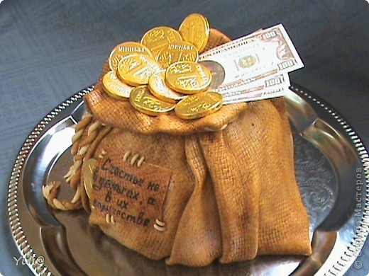 Мешок с деньгами торт пошагово