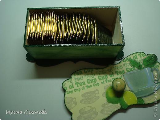 Чайная коробка задекорирована в технике декупаж. В работе использовала два види салфеток. фото 7