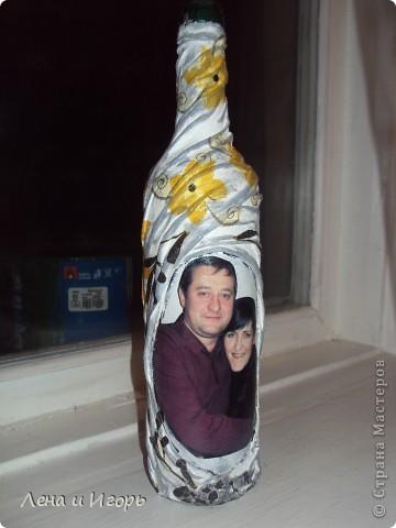 Декупаж бутылки с фото фото 1