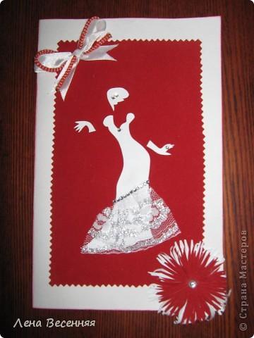 Доброго времени суток!!! Сегодня представляю Вам свои 4 открытки, которые сделала на днях. И открытки, которые делала ещё летом. Силуэт для этой открытки нашла в Интернете. Надпись Марины Абрамовой. Открытку подарю подруге.   фото 8