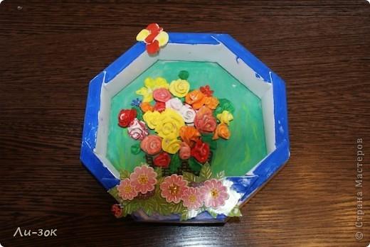 Это первая моя работа в стране мастеров ,ну очень захотелось весны!Взяла коробочку от конфет,раскрасила,и на клеила красивую наклейку. фото 1