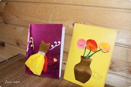 8 марта уже  не за горами и вот начала я готовиться сделала две  открыточки фото 2