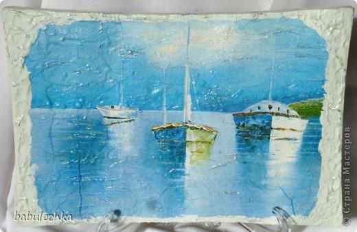 Панно натюрморт Анютины глазки и панно  морской пейзаж-На море штиль... фото 2