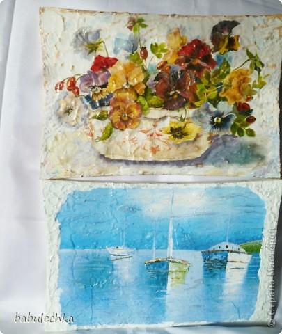 Панно натюрморт Анютины глазки и панно  морской пейзаж-На море штиль... фото 1