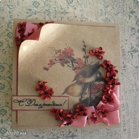 Доброго времени суток дорогие жители СМ. Хочу показать свои последние работы. Первая - открытка на 8 марта с самодельными цветами! фото 5