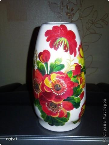 Моя первая декупажная вазочка. фото 1