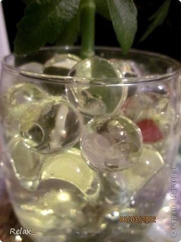 плохо видно шарики но как могла фотографировала...экспериментирую..сможет ли расти в гидрогеле растение пока не приобрела красивую вазу в стакан насыпала фото 5