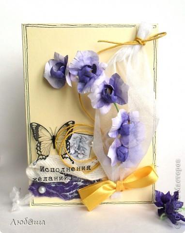 Всем приветы! Это открытка для мамы. Орхидеи - это ее любимые цветы) Не найдя подходящего МК придумала сама) фото 1