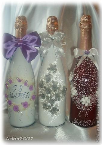 Здравствуйте всем!!! Приближается 8 марта и многие мои друзья попросили оформить на подарки шампанское.Сначала я конечно обрадовалась! Но сейчас, после 6 бутылок подряд в глазах уже рябит)))А мне еще 8 бутылок за 4 дня надо сделать!!!  фото 1