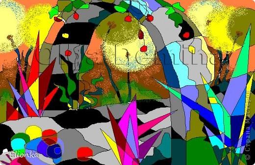 """Все работы были созданы в Paint, мышкой (тогда еще не было у меня планшета, да и фотошоп не стоял... :)) Думаю, что некоторые работы, например, """"Петушок"""" и """"Аквариум"""" вполне можно использовать в виде основы под аппликацию. Если кто-то решится сделать, с удовольствием посмотрю на результат)  """"Петушок"""" фото 2"""