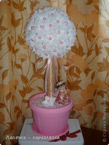 """Топиарий """"Нежность"""" изготовила в комплект к розовой открытке для своей племяннице на её первый день рождения! фото 1"""