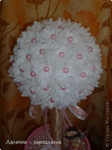 """Топиарий """"Нежность"""" изготовила в комплект к розовой открытке для своей племяннице на её первый день рождения! фото 3"""