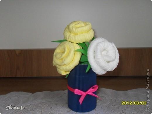 Такие небольшие букетики цветов я сделала на 8 марта. фото 2