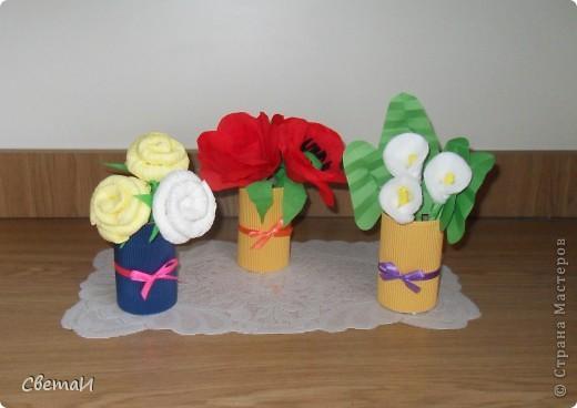 Такие небольшие букетики цветов я сделала на 8 марта. фото 4