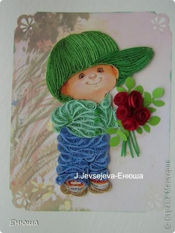 Малыш всех поздравляет! Была открыточка  -малыш с мороженным, но я решила  пусть будут цветы фото 1