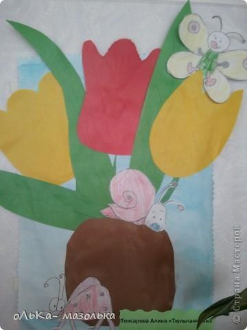 Вот  такую восьмерочку мы сделали с детками из цветных салфеточек фото 3