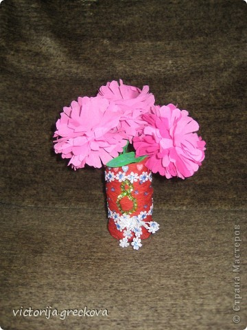 Вазочки с цветочками для бабушек к 8 марта!!! фото 3