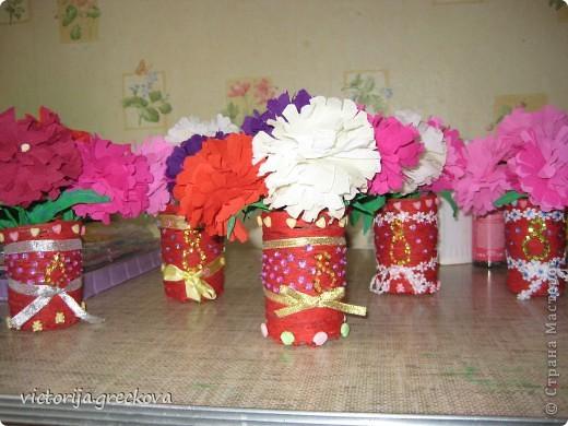 Вазочки с цветочками для бабушек к 8 марта!!! фото 2