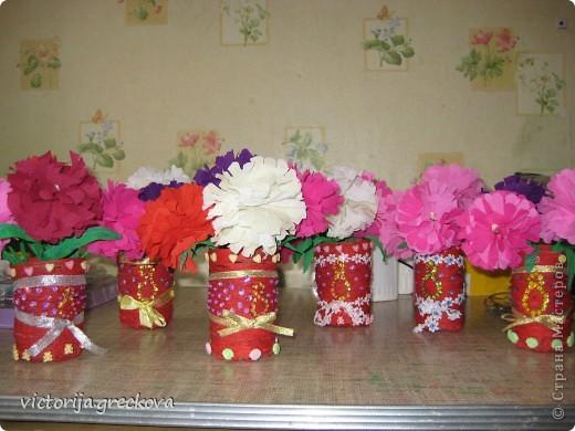 Вазочки с цветочками для бабушек к 8 марта!!! фото 1