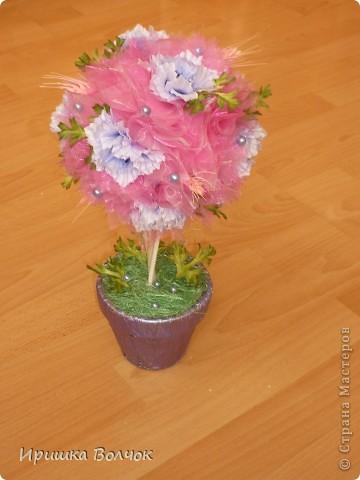 """Вот такое розовое """"облоко"""",получилось у меня из кусочка органзы и кустика васильков)))) фото 5"""