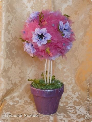 """Вот такое розовое """"облоко"""",получилось у меня из кусочка органзы и кустика васильков)))) фото 4"""