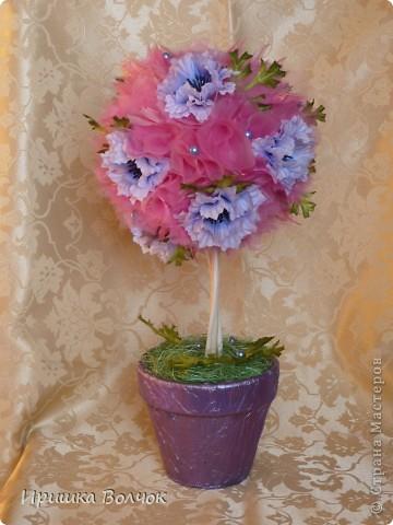 """Вот такое розовое """"облоко"""",получилось у меня из кусочка органзы и кустика васильков)))) фото 1"""