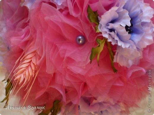 """Вот такое розовое """"облоко"""",получилось у меня из кусочка органзы и кустика васильков)))) фото 2"""