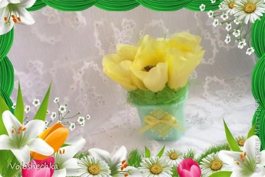 Продолжаю творить в свит - дизайне)))  Процесс очень понравился и сегодня сделала к 8 МАРТА такие букетики тюльпанчиков, наполненные свежестью весны  и сладким ароматом вкусных конфеток ))) фото 3