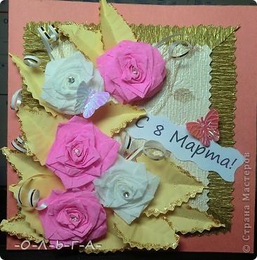 Здравствуйте! Несколько открыточек к 8 Марта! Делали с сыном быстро и с удовольствием :-)) фото 10
