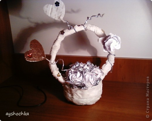 Вот такая корзиночка с розами...Надеюсь маме понравиться на 8 марта.....!!! Кстати, всех женщин, девушек, девочек с наступающим международным женским днем!!! фото 1