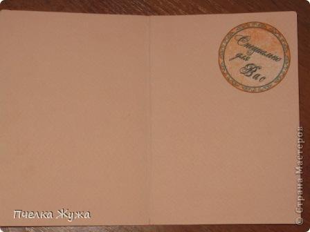 Хозяйка этой обложечки - музейный работник, обожает свою работу и искусство. Использовала: бумагу акварельную, распечатки принтерные, ленту атласную, бумагу для принтера тонированную, штемпельные подушечки, фигурный дырокол, штампы, бумагу гофрированную, стразы Сваровски неклеевые фото 4