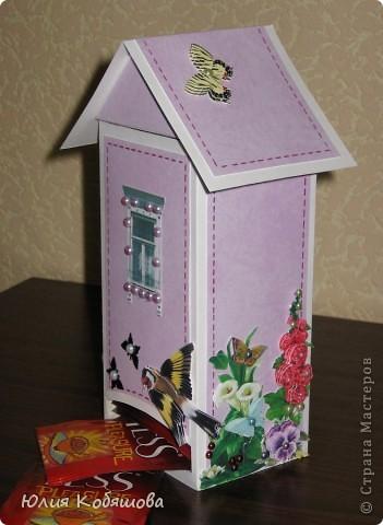 Этот домик сделала для преподавательницы моей Дашеньки. Получился он вот такой в розовых тонах с яркими пятнами в виде 3D цветочков, птичек и бабочек. Это один бочёк... фото 1